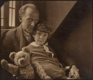A A Milne with Christopher Robin image