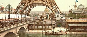 Eiffel Tower and general view of the grounds, Exposition Universelle, 1900, Paris, France