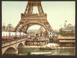 Eiffel Tower and general view of the grounds, Exposition Universelle, 1900, Paris, France.