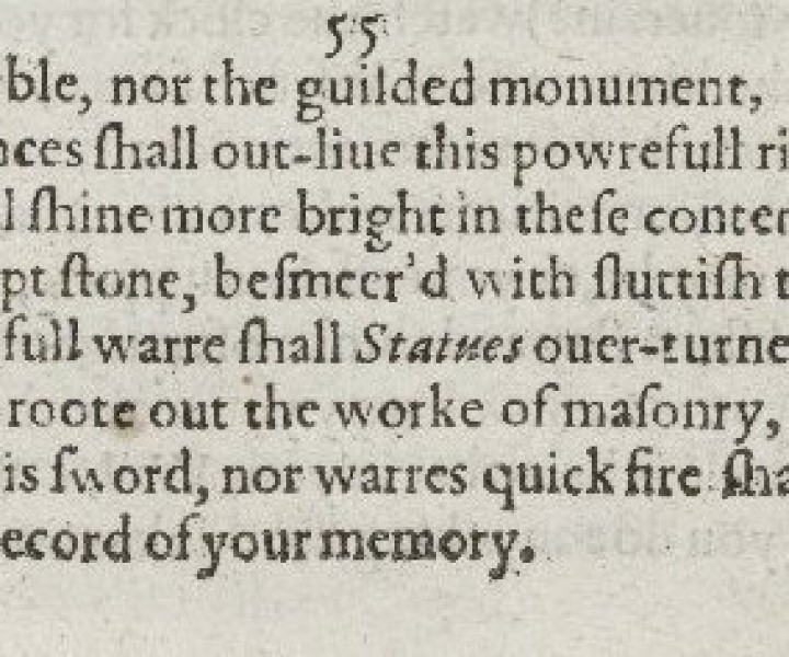 The first two stanzas of Sonnet 55 in the 1609 Quarto