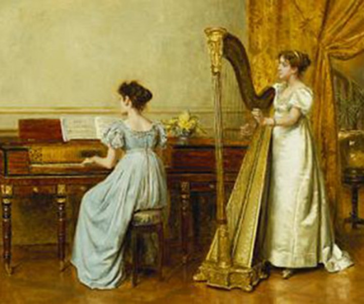 The Music Room. George Goodwin Kilburne (1839-1924). Oil On Panel, 30.4 X 40.6cm.