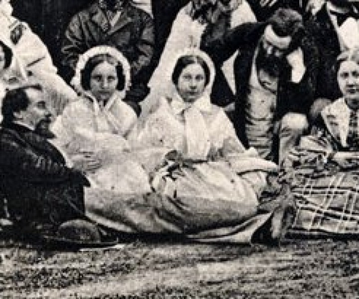 The Dickens family (and friends) in 1864 - (l-r) Charles Dickens, Jr., Kate Dickens, Charles Dickens, Miss Hogarth, Mary Dickens, Wilkie Collins, Georgina Hogarth.