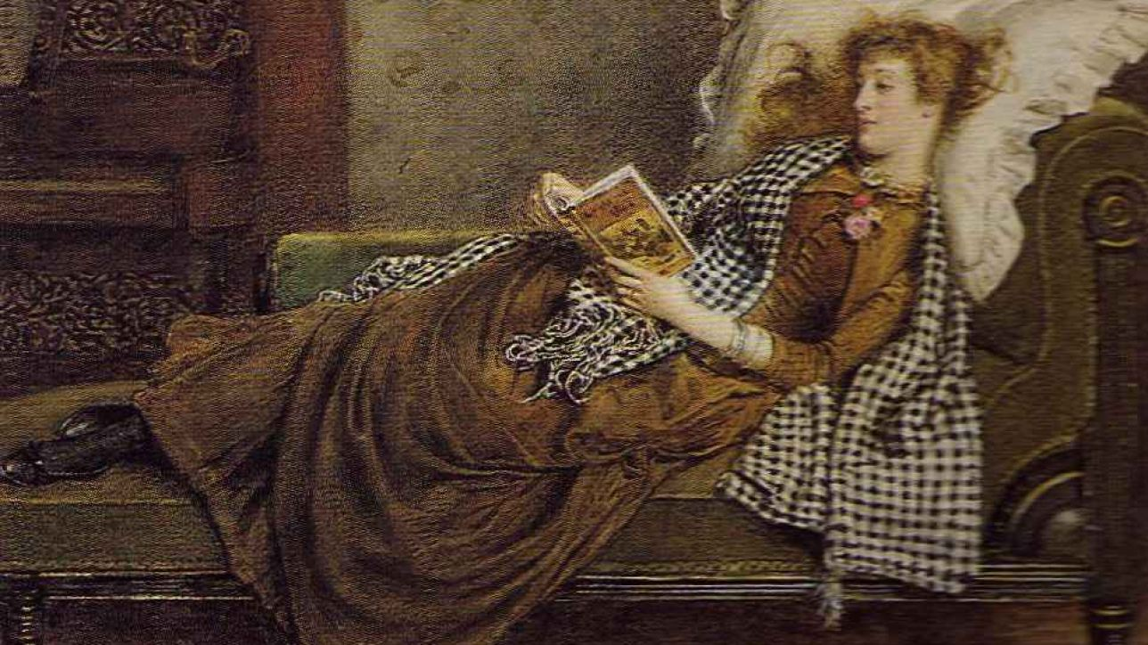 Woman on a Fainting Couch Reading by George Goodwin Kilburne