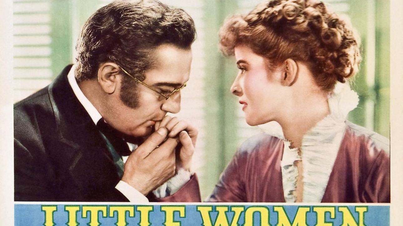 Lobby card from the 1933 film Little Women starring Paul Lukas and Katharine Hepburn.