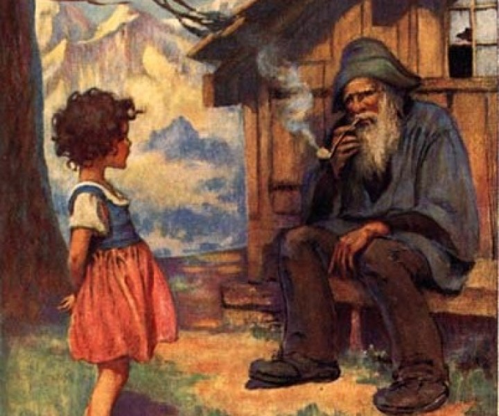 Heidi and her Grandfather [cropped] by Jessie Willcox Smith