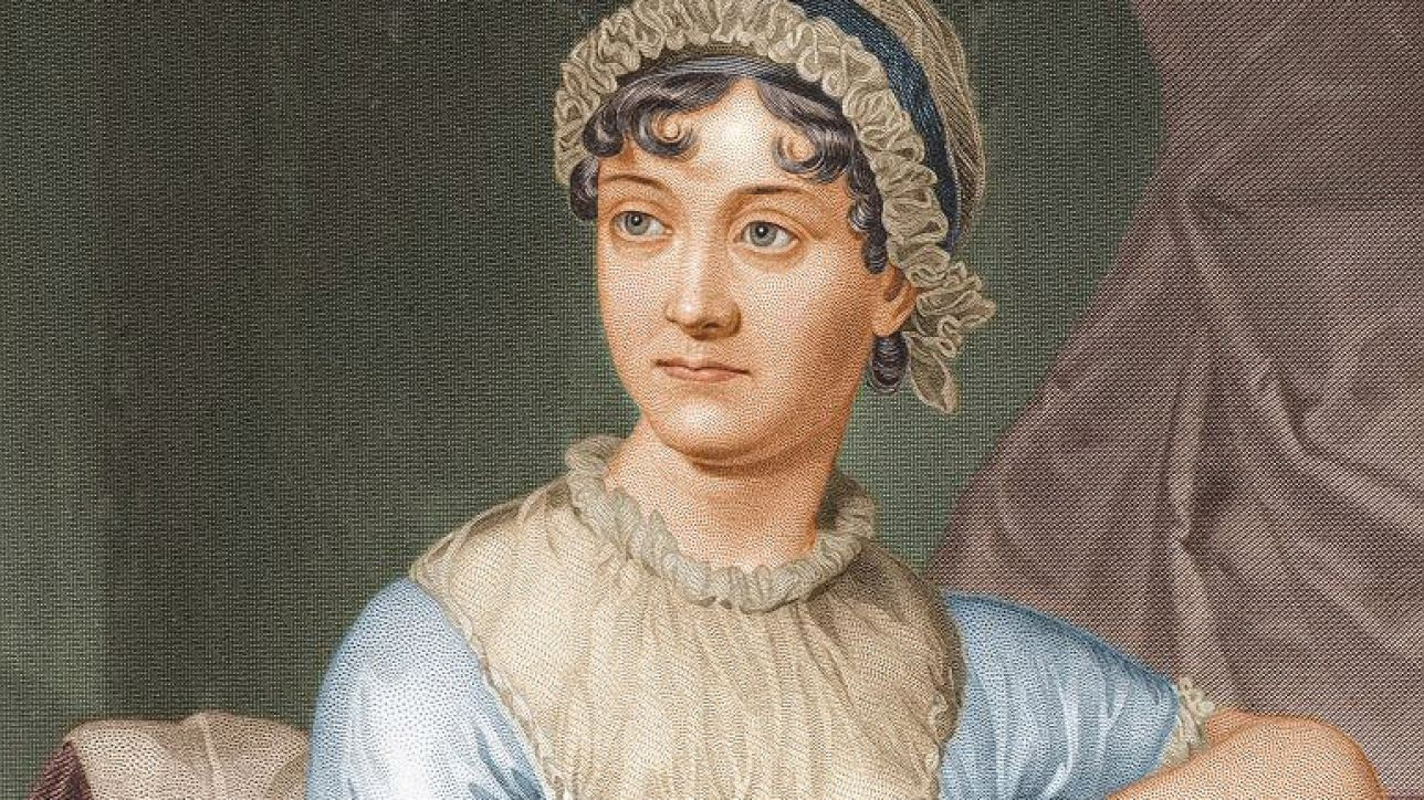 Jane Austen, colourised version of the 1873 re-engraving (cropped)