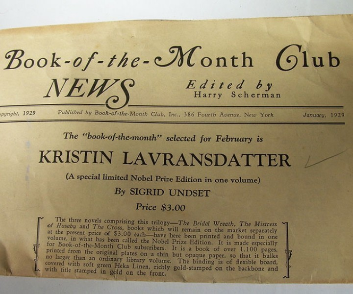 Book of the Month Club newsletter from 1929