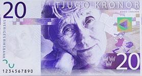 Sweedish banknote Astrid Lindgren