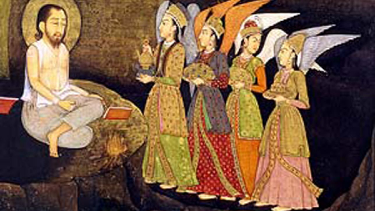 A miniature depicting Sultan Ibrahim ibn Adham of Balkh visited by angels, 1760-70.
