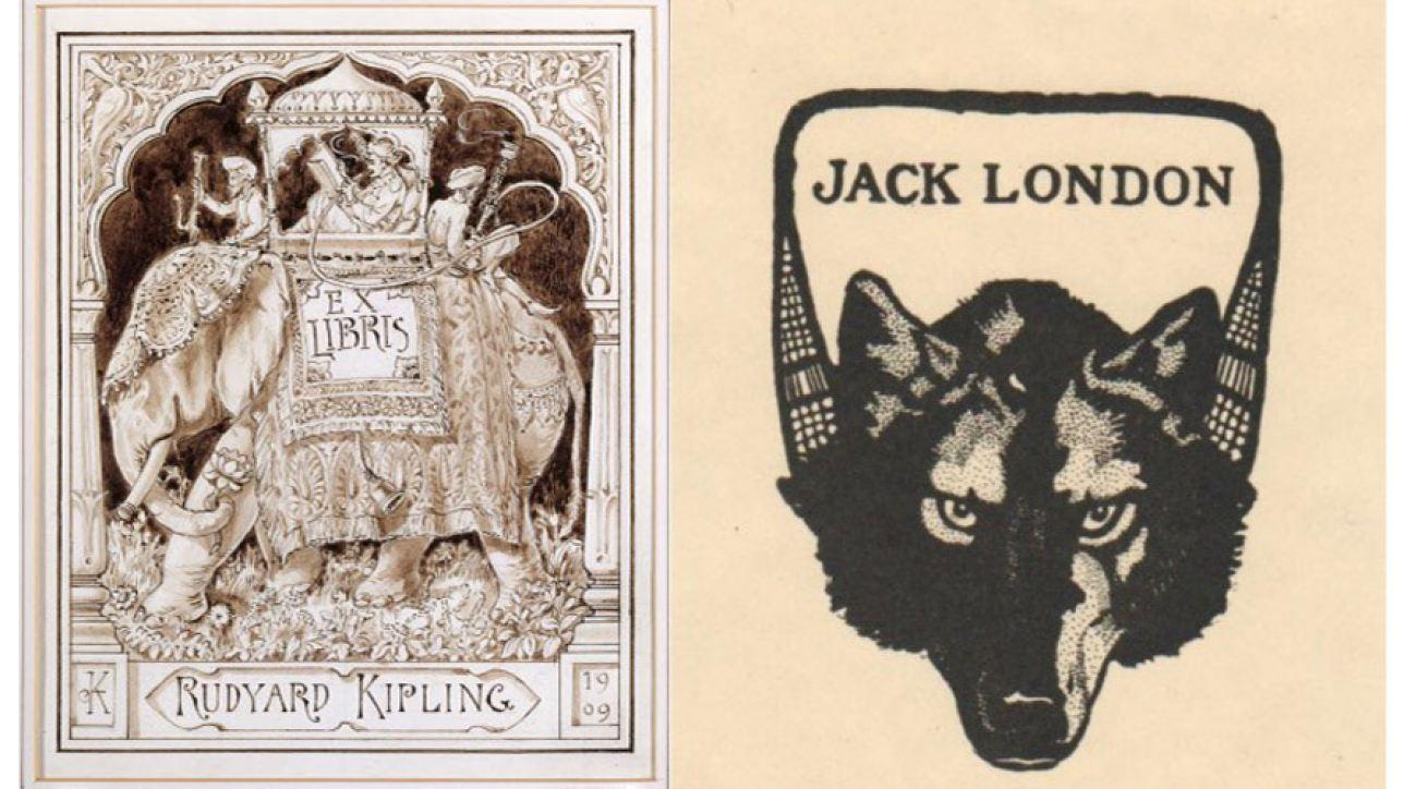 Book plates belonging to Rudyard Kipling & Jack London