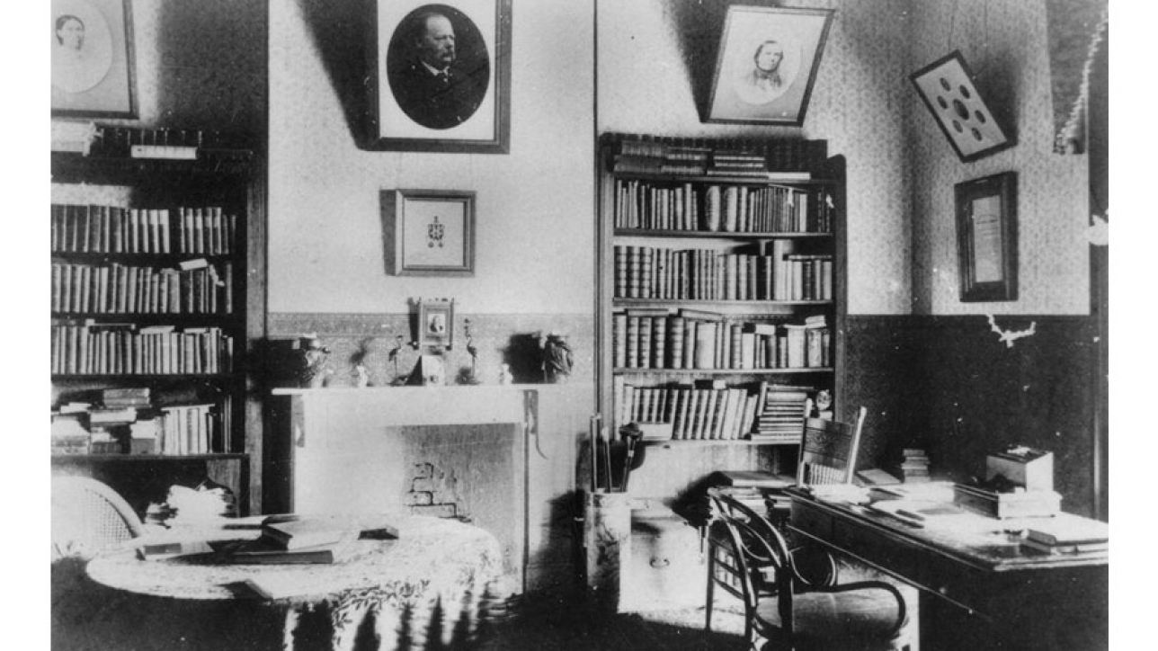 Library at Westbrook Station, Queensland, ca. 1898