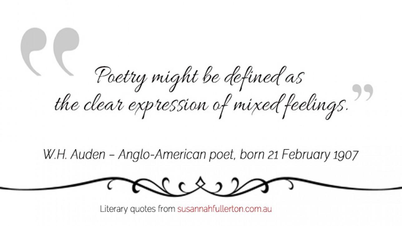 W.H. Auden quote by Susannah Fullerton