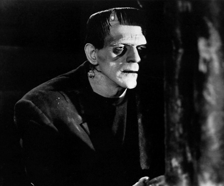 Boris Karloff as Frankenstein's monster in the  classic 1930s film edition.