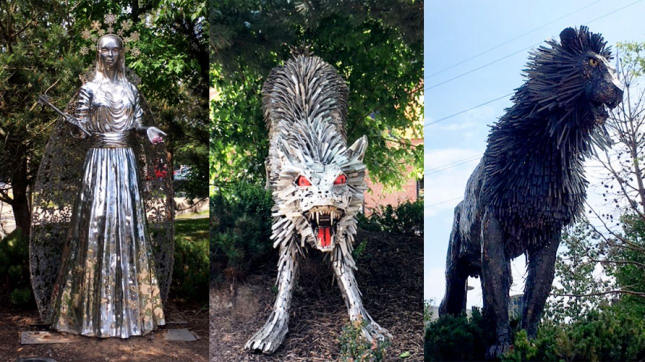 Characters from the 'Narnia' books of CS Lewis in a Belfast square