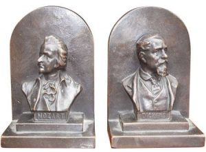 American bronze bookends, ca. 1880, offered by Golden & Associates Antiques