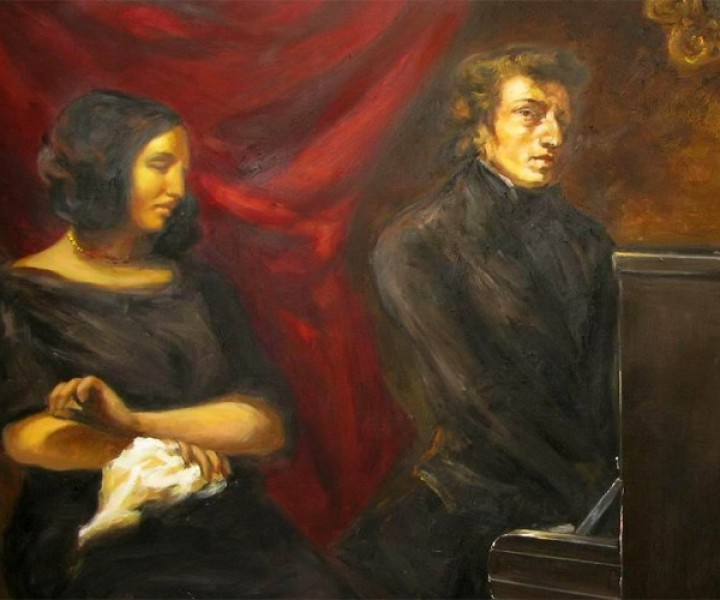 Stylized rendition of joint portrait of Frédéric Chopin and George Sand by Eugène Delacroix