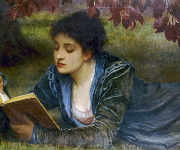 Girl reading, 1879, by Charles Edward Perugini