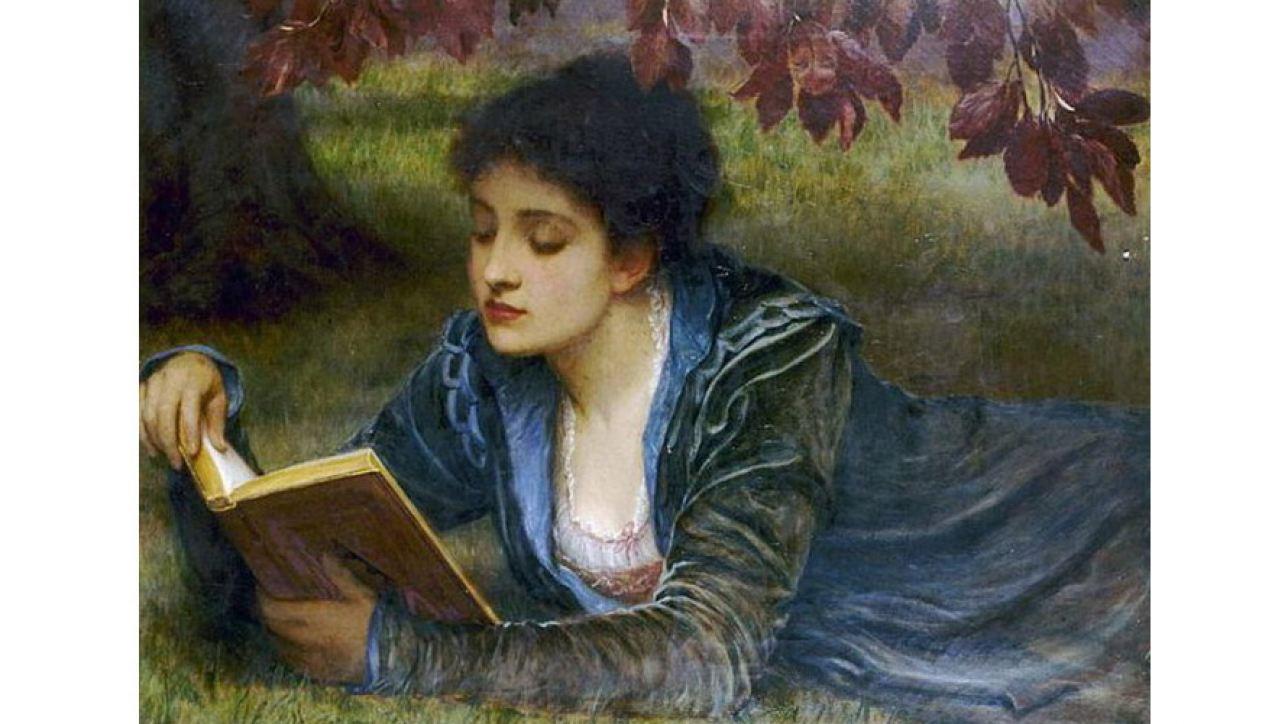 Girl reading, 1879, by Charles Edward Perugini