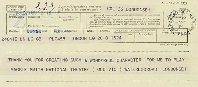 Maggie Smith sent Muriel Spark this telegram the day after she won the Best Actress Oscar for the lead role in the film 'The Prime of Miss Jean Brodie'.