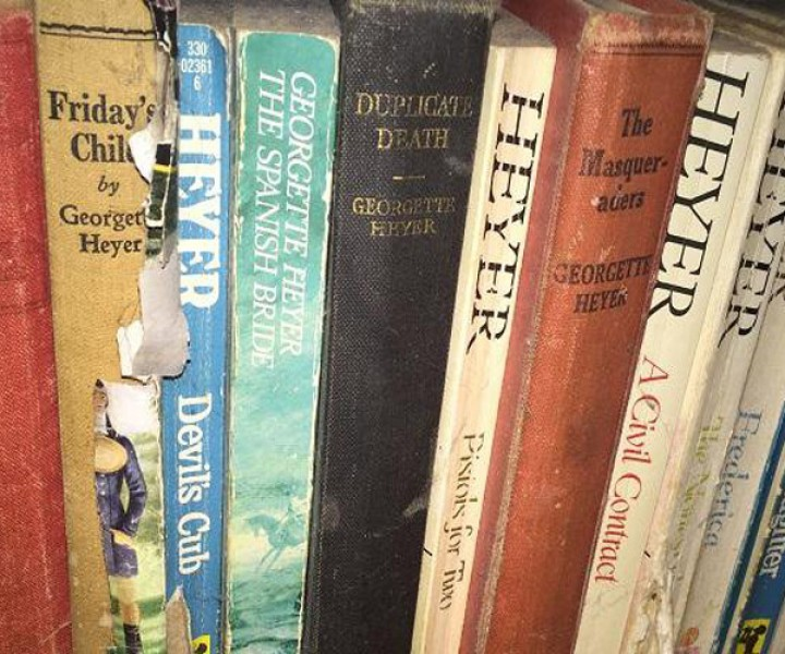 Shelf of Georgette Heyer books