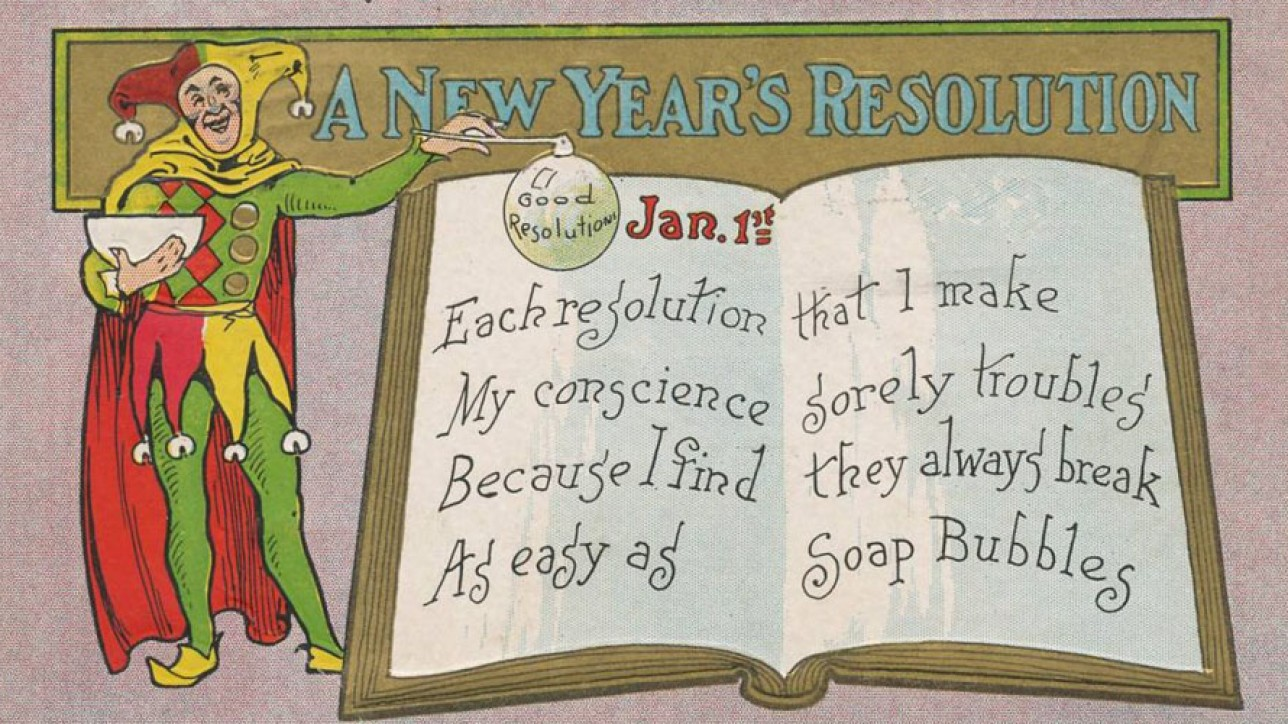 New Year's Day postcard mailed in 1909